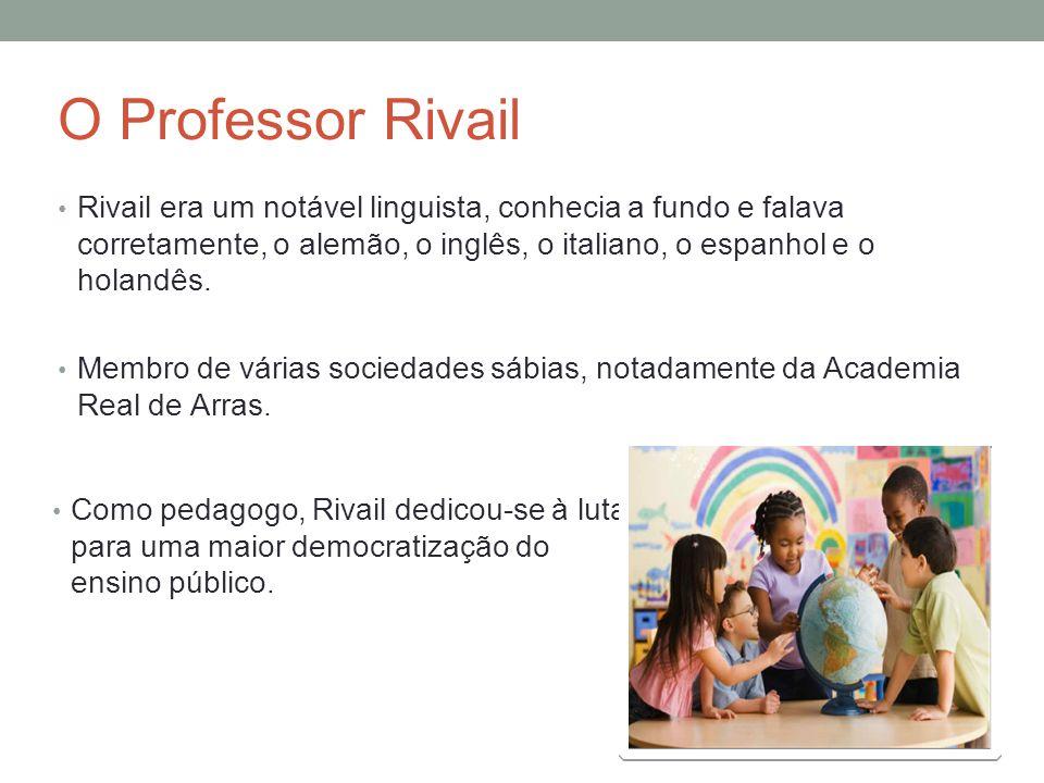 O Professor Rivail Rivail era um notável linguista, conhecia a fundo e falava corretamente, o alemão, o inglês, o italiano, o espanhol e o holandês.
