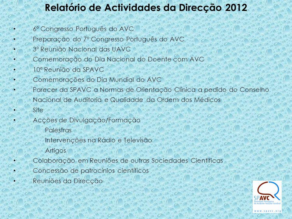 6º Congresso Português do AVC Preparação do 7º Congresso Português do AVC 3º Reunião Nacional das UAVC Comemoração do Dia Nacional do Doente com AVC 1