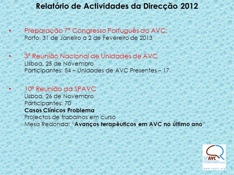 Relatório de Actividades da Direcção 2012 Preparação 7º Congresso Português do AVC: Porto, 31 de Janeiro a 2 de Fevereiro de 2013 3ª Reunião Nacional