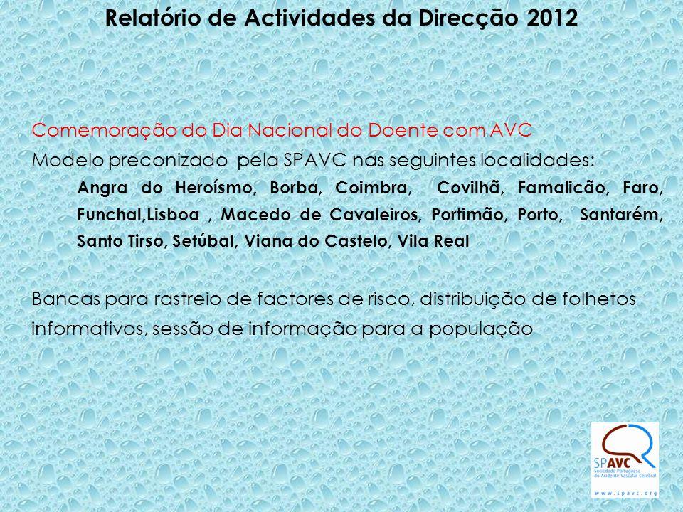Relatório de Actividades da Direcção 2012 Comemoração do Dia Nacional do Doente com AVC Modelo preconizado pela SPAVC nas seguintes localidades: Angra