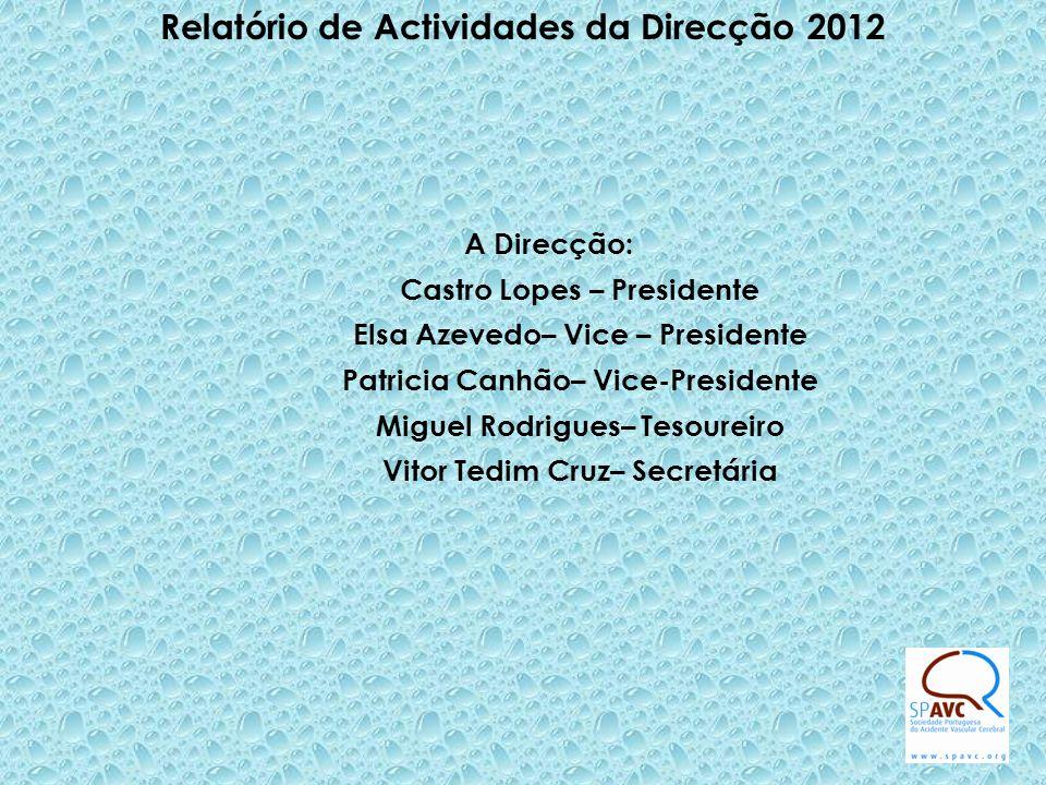 Relatório de Actividades da Direcção 2012 A Direcção: Castro Lopes – Presidente Elsa Azevedo– Vice – Presidente Patricia Canhão– Vice-Presidente Miguel Rodrigues– Tesoureiro Vitor Tedim Cruz– Secretária