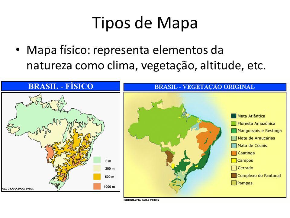 Tipos de Mapa Mapa físico: representa elementos da natureza como clima, vegetação, altitude, etc.