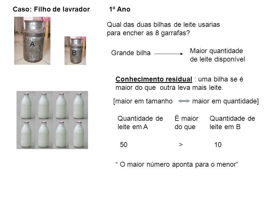 Caso: Filho de lavrador A B Qual das duas bilhas de leite usarias para encher as 8 garrafas? Grande bilha Maior quantidade de leite disponível Conheci