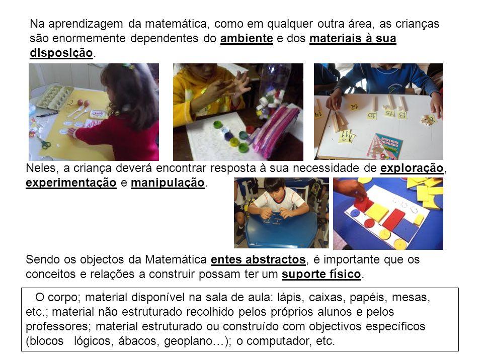 Na aprendizagem da matemática, como em qualquer outra área, as crianças são enormemente dependentes do ambiente e dos materiais à sua disposição. Nele