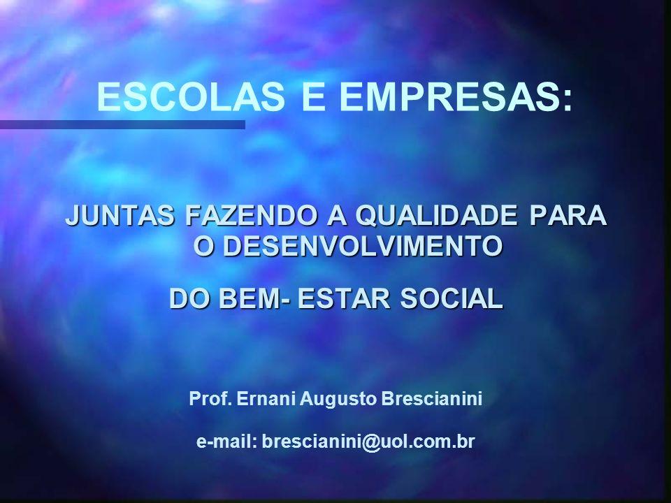 ESCOLAS E EMPRESAS: JUNTAS FAZENDO A QUALIDADE PARA O DESENVOLVIMENTO DO BEM- ESTAR SOCIAL Prof.