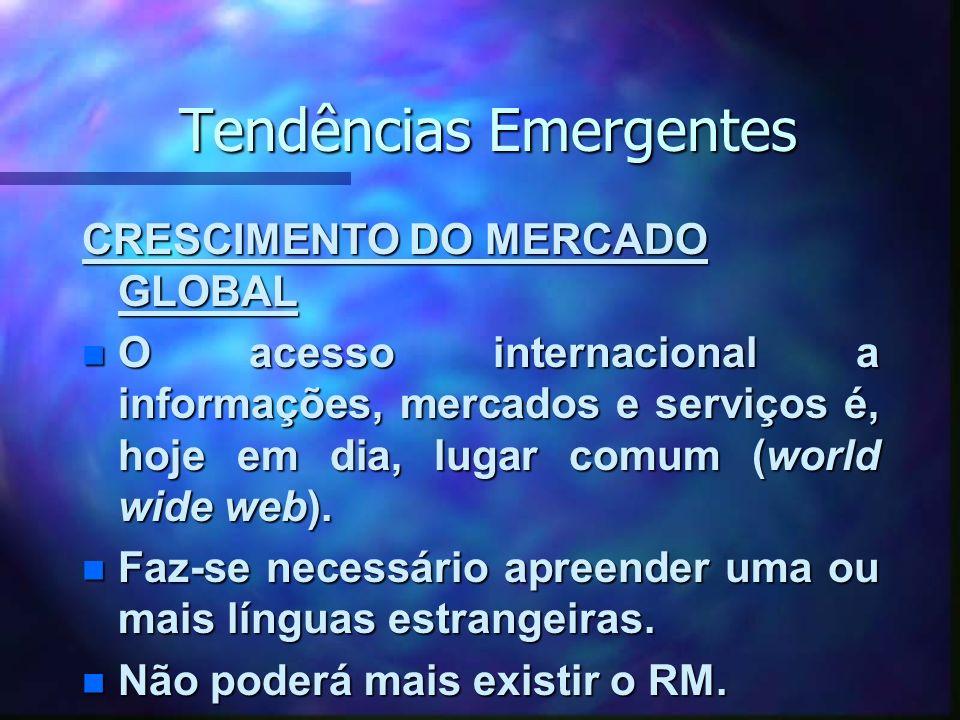 Tendências Emergentes CRESCIMENTO DO MERCADO GLOBAL n O acesso internacional a informações, mercados e serviços é, hoje em dia, lugar comum (world wide web).