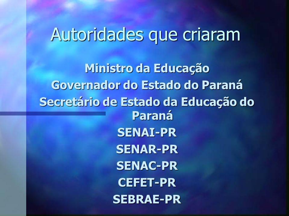 Autoridades que criaram Ministro da Educação Governador do Estado do Paraná Secretário de Estado da Educação do Paraná SENAI-PRSENAR-PRSENAC-PRCEFET-PRSEBRAE-PR
