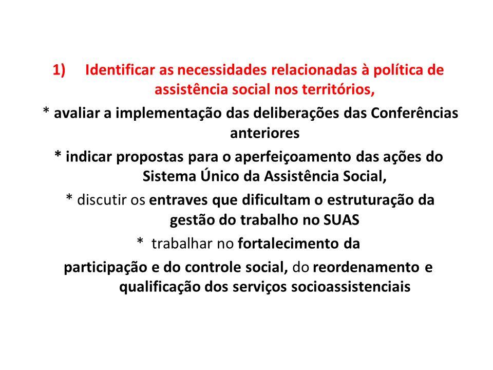 1)Identificar as necessidades relacionadas à política de assistência social nos territórios, * avaliar a implementação das deliberações das Conferênci
