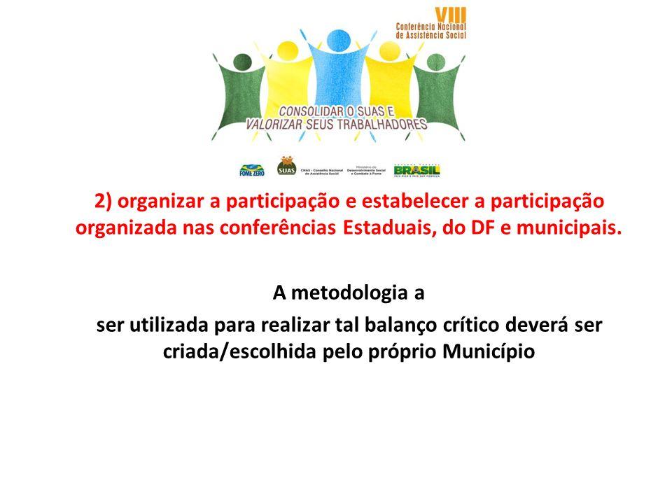 2) organizar a participação e estabelecer a participação organizada nas conferências Estaduais, do DF e municipais. A metodologia a ser utilizada para