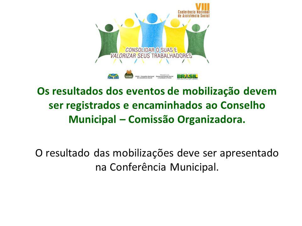 Os resultados dos eventos de mobilização devem ser registrados e encaminhados ao Conselho Municipal – Comissão Organizadora. O resultado das mobilizaç