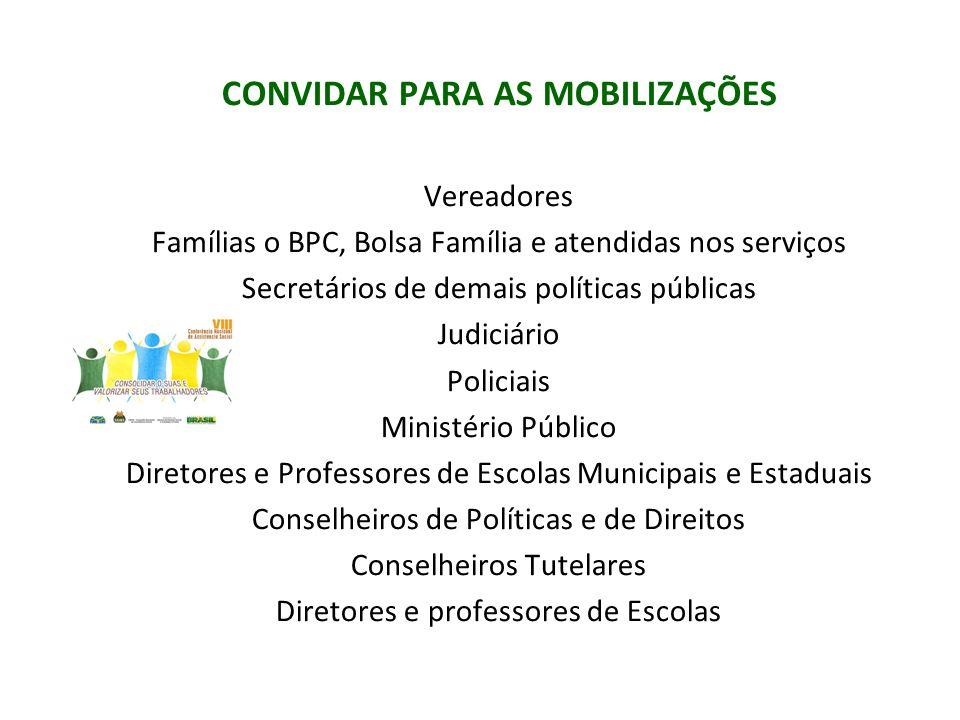 CONVIDAR PARA AS MOBILIZAÇÕES Vereadores Famílias o BPC, Bolsa Família e atendidas nos serviços Secretários de demais políticas públicas Judiciário Po