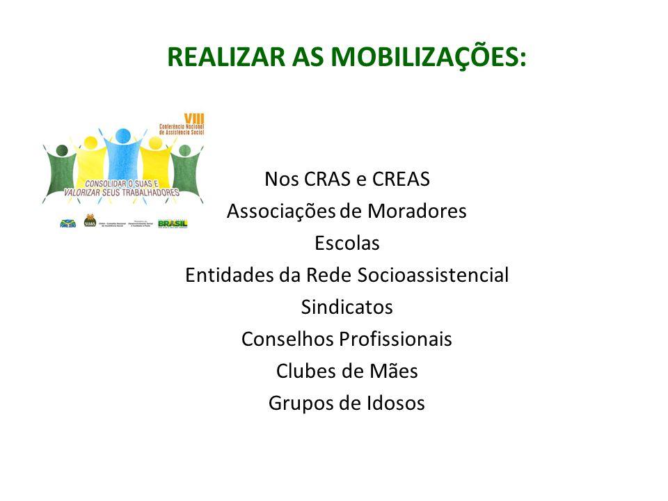 REALIZAR AS MOBILIZAÇÕES: Nos CRAS e CREAS Associações de Moradores Escolas Entidades da Rede Socioassistencial Sindicatos Conselhos Profissionais Clu