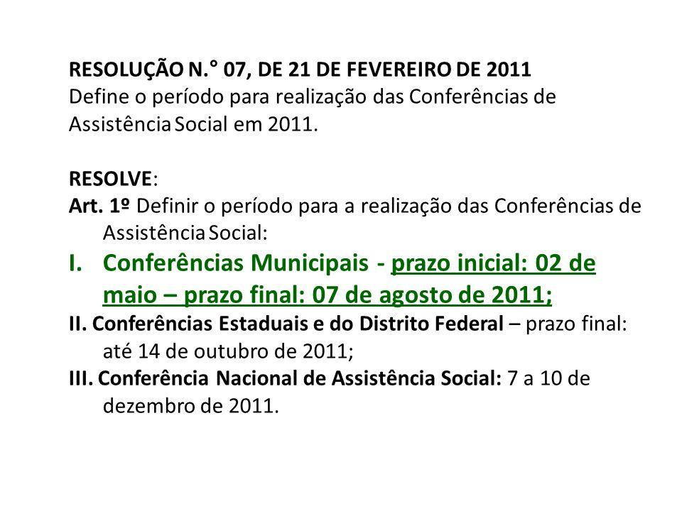 RESOLUÇÃO N.° 07, DE 21 DE FEVEREIRO DE 2011 Define o período para realização das Conferências de Assistência Social em 2011. RESOLVE: Art. 1º Definir