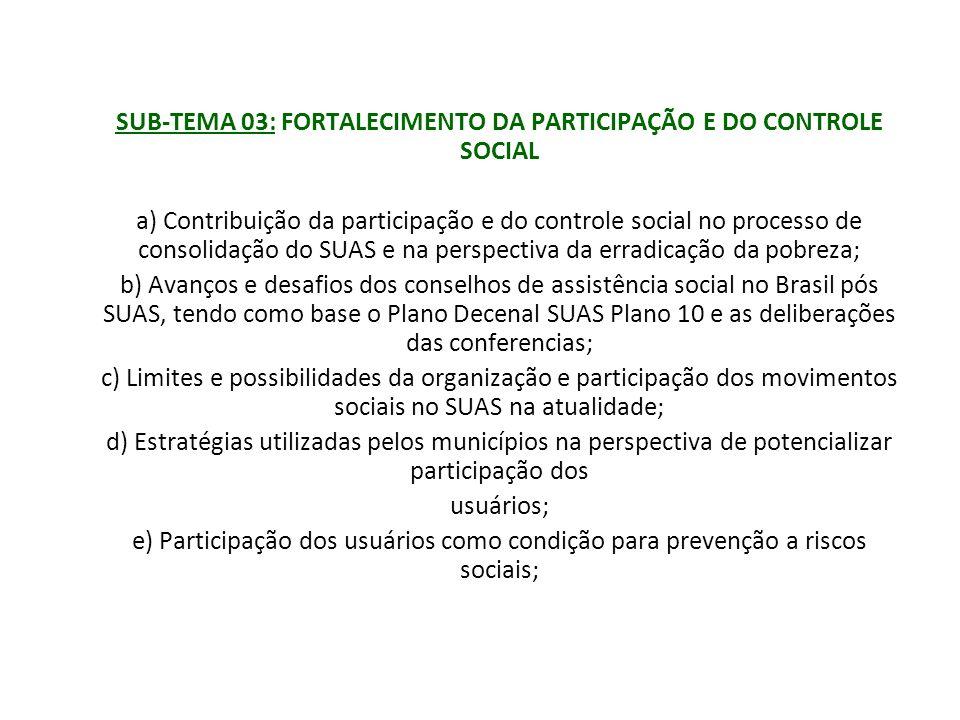SUB-TEMA 03: FORTALECIMENTO DA PARTICIPAÇÃO E DO CONTROLE SOCIAL a) Contribuição da participação e do controle social no processo de consolidação do S
