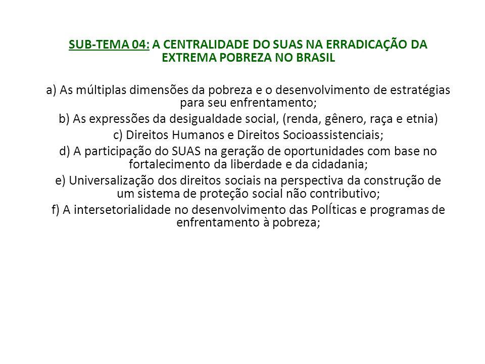 SUB-TEMA 04: A CENTRALIDADE DO SUAS NA ERRADICAÇÃO DA EXTREMA POBREZA NO BRASIL a) As múltiplas dimensões da pobreza e o desenvolvimento de estratégia