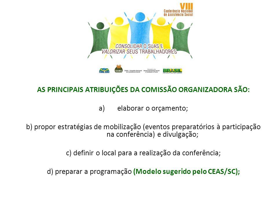 AS PRINCIPAIS ATRIBUIÇÕES DA COMISSÃO ORGANIZADORA SÃO: a)elaborar o orçamento; b) propor estratégias de mobilização (eventos preparatórios à particip