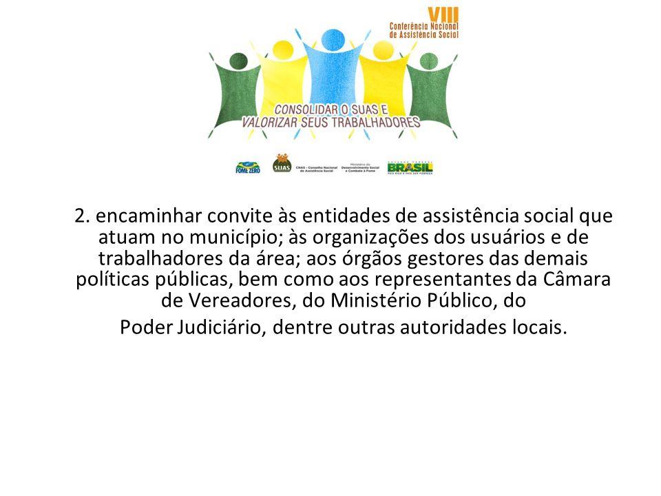 2. encaminhar convite às entidades de assistência social que atuam no município; às organizações dos usuários e de trabalhadores da área; aos órgãos g