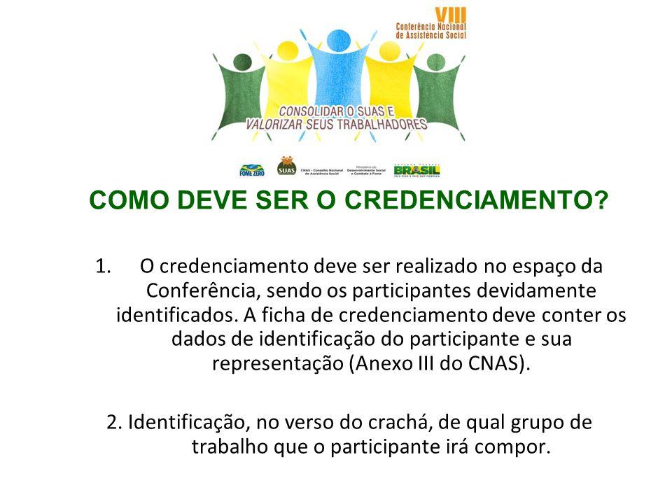 COMO DEVE SER O CREDENCIAMENTO? 1.O credenciamento deve ser realizado no espaço da Conferência, sendo os participantes devidamente identificados. A fi