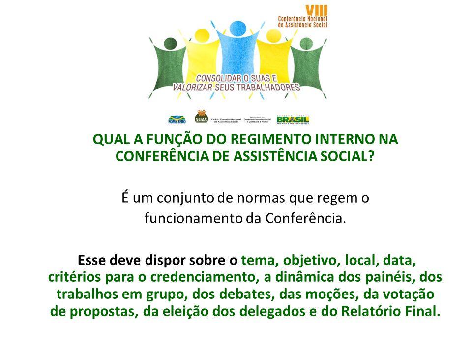 QUAL A FUNÇÃO DO REGIMENTO INTERNO NA CONFERÊNCIA DE ASSISTÊNCIA SOCIAL? É um conjunto de normas que regem o funcionamento da Conferência. Esse deve d
