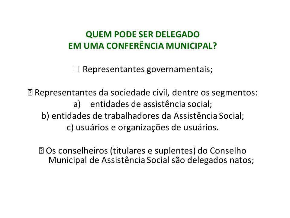 QUEM PODE SER DELEGADO EM UMA CONFERÊNCIA MUNICIPAL? Representantes governamentais; Representantes da sociedade civil, dentre os segmentos: a)entidade