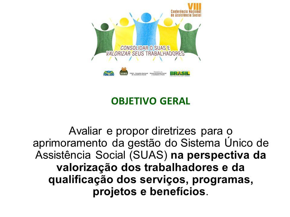 OBJETIVO GERAL Avaliar e propor diretrizes para o aprimoramento da gestão do Sistema Único de Assistência Social (SUAS) na perspectiva da valorização