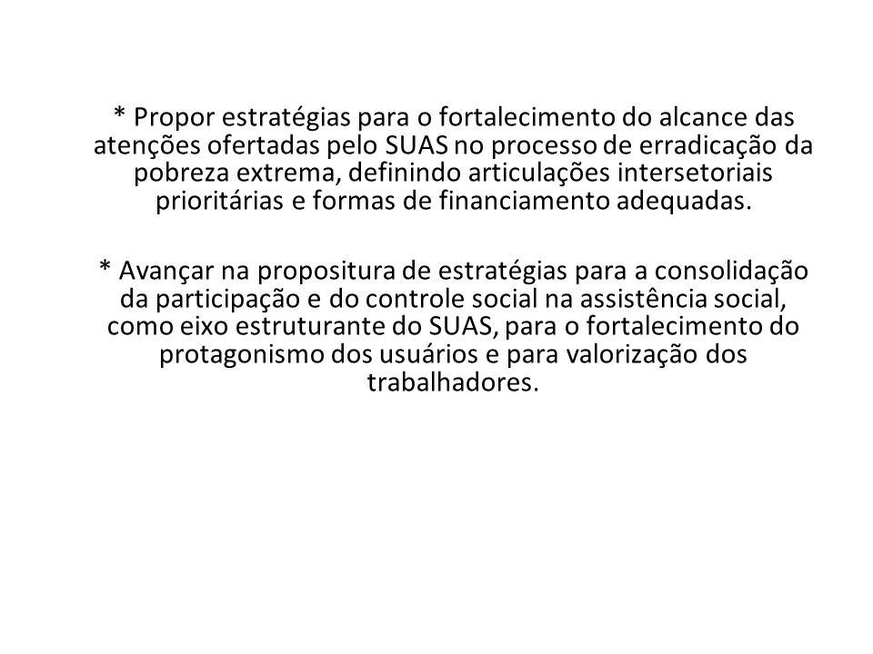 * Propor estratégias para o fortalecimento do alcance das atenções ofertadas pelo SUAS no processo de erradicação da pobreza extrema, definindo articu