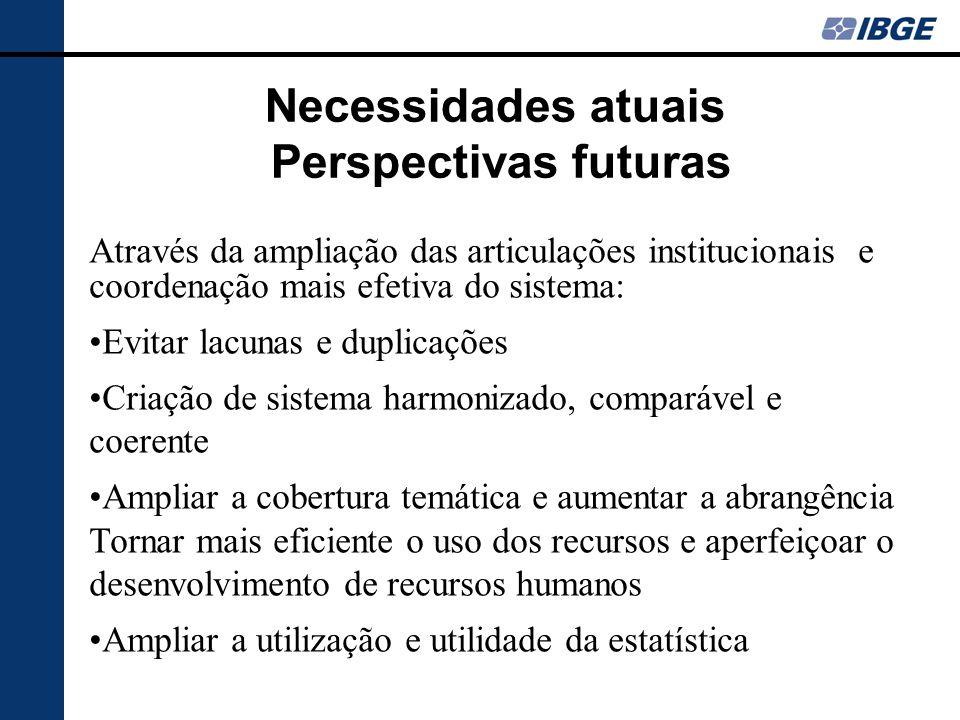Necessidades atuais Perspectivas futuras Através da ampliação das articulações institucionais e coordenação mais efetiva do sistema: Evitar lacunas e