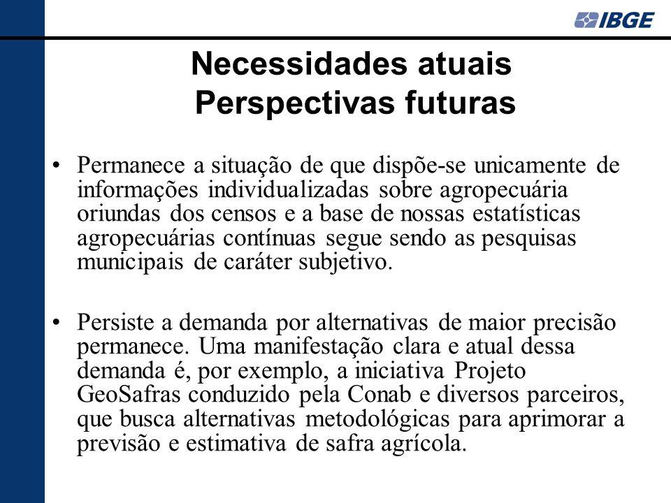 Necessidades atuais Perspectivas futuras Permanece a situação de que dispõe-se unicamente de informações individualizadas sobre agropecuária oriundas