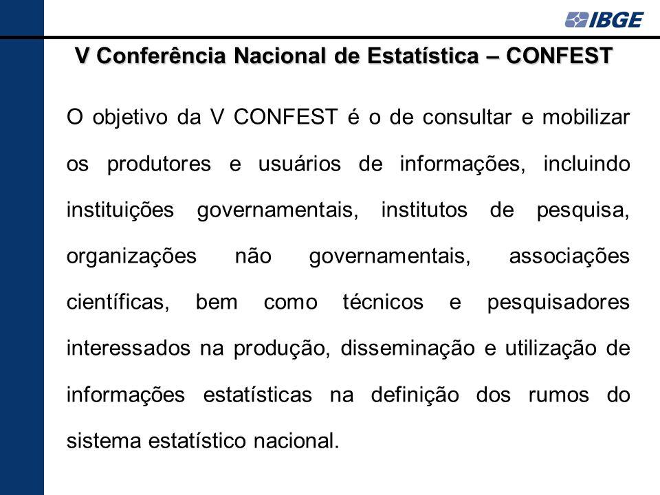 O objetivo da V CONFEST é o de consultar e mobilizar os produtores e usuários de informações, incluindo instituições governamentais, institutos de pes