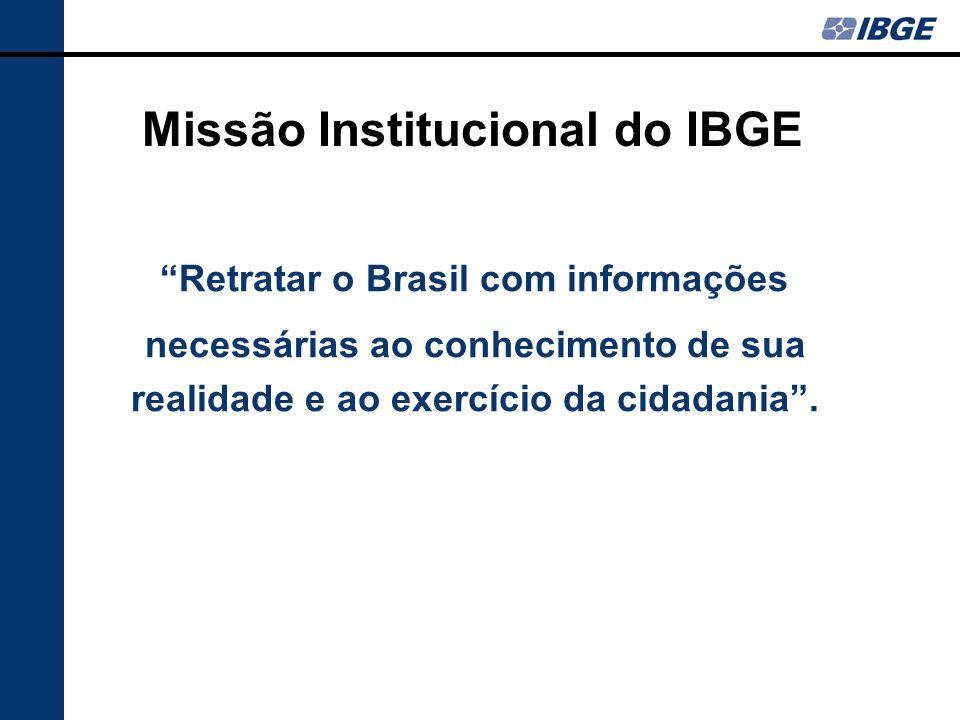 Missão Institucional do IBGE Retratar o Brasil com informações necessárias ao conhecimento de sua realidade e ao exercício da cidadania.