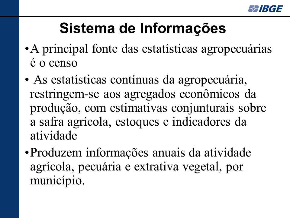 Sistema de Informações A principal fonte das estatísticas agropecuárias é o censo As estatísticas contínuas da agropecuária, restringem-se aos agregad