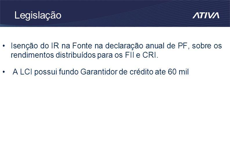 Legislação Isenção do IR na Fonte na declaração anual de PF, sobre os rendimentos distribuídos para os FII e CRI.