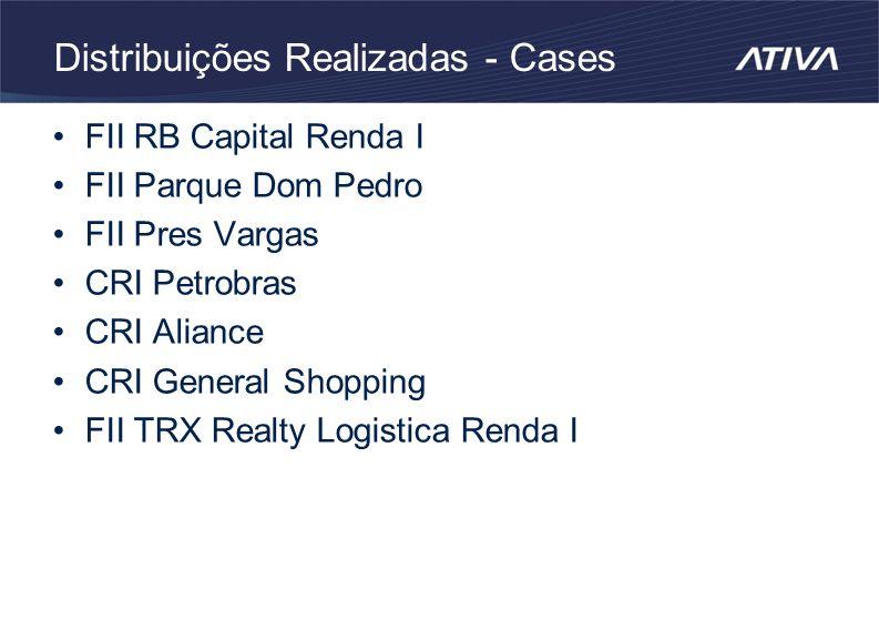 Distribuições Realizadas - Cases FII RB Capital Renda I FII Parque Dom Pedro FII Pres Vargas CRI Petrobras CRI Aliance CRI General Shopping FII TRX Realty Logistica Renda I