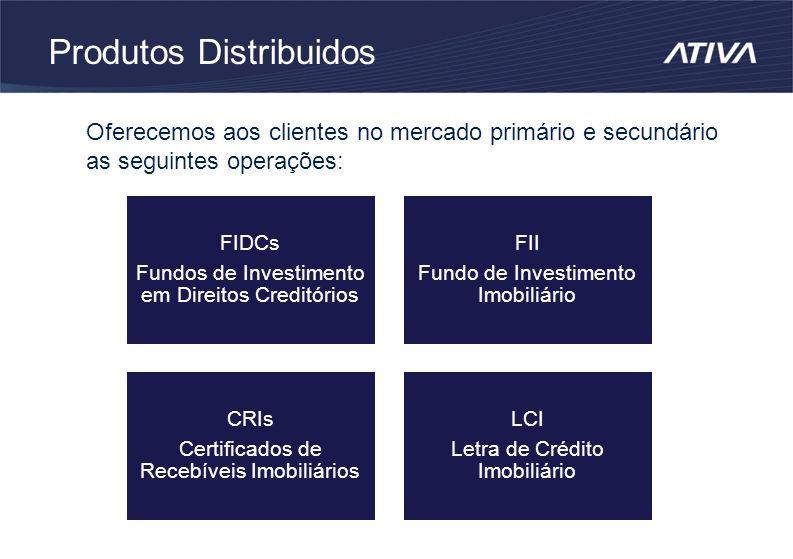 Produtos Distribuidos Oferecemos aos clientes no mercado primário e secundário as seguintes operações: FIDCs Fundos de Investimento em Direitos Creditórios FII Fundo de Investimento Imobiliário CRIs Certificados de Recebíveis Imobiliários LCI Letra de Crédito Imobiliário