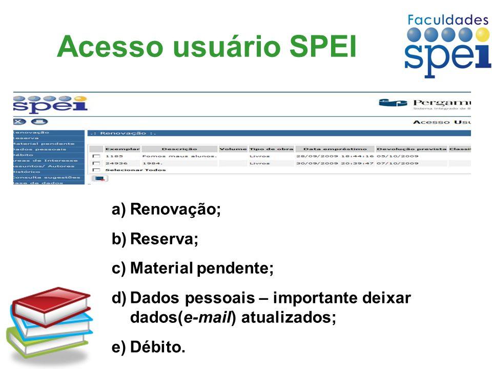 Acesso usuário SPEI a)Renovação; b)Reserva; c)Material pendente; d)Dados pessoais – importante deixar dados(e-mail) atualizados; e)Débito.