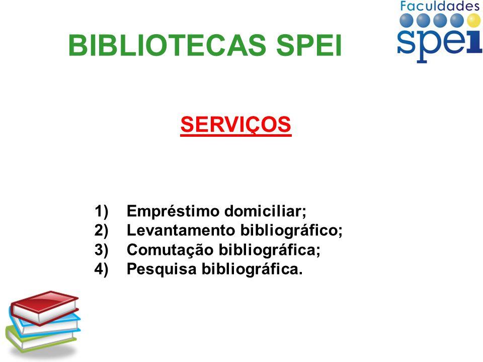 BIBLIOTECAS SPEI 1)Empréstimo domiciliar; 2)Levantamento bibliográfico; 3)Comutação bibliográfica; 4)Pesquisa bibliográfica. SERVIÇOS