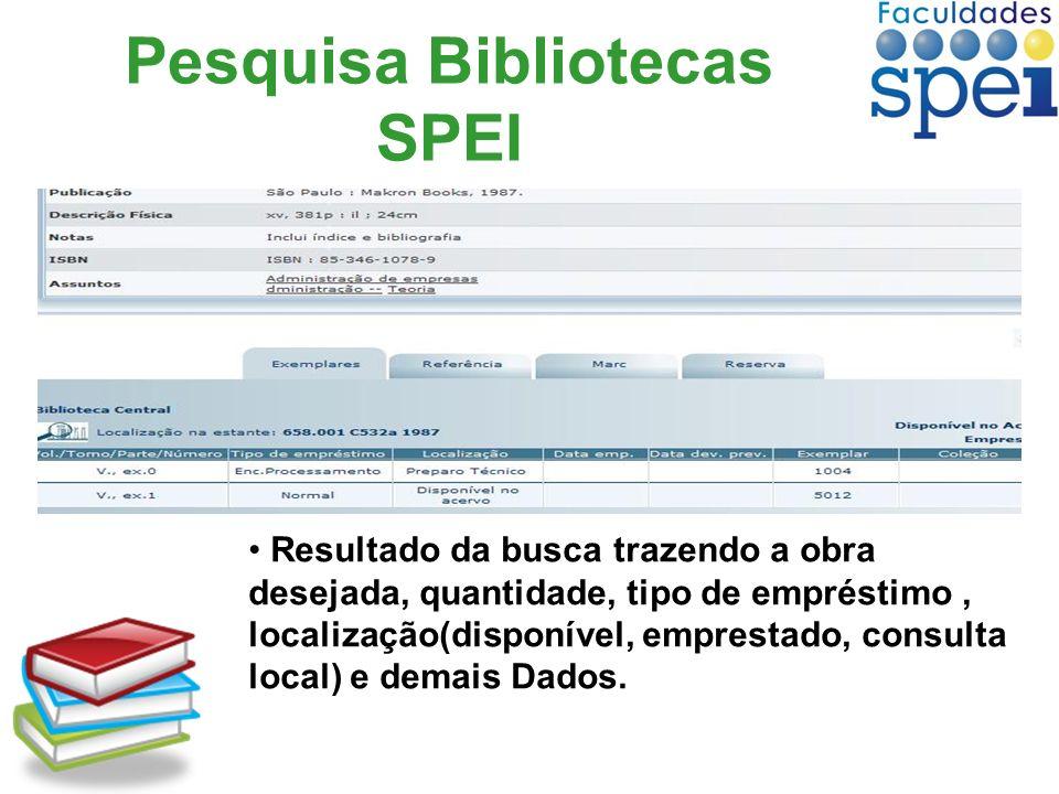 Pesquisa Bibliotecas SPEI Resultado da busca trazendo a obra desejada, quantidade, tipo de empréstimo, localização(disponível, emprestado, consulta lo