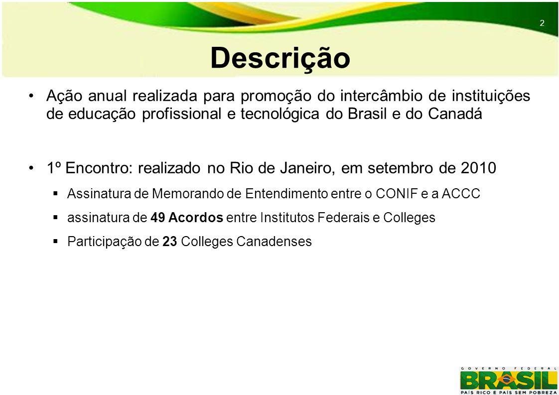 2 2 Descrição Ação anual realizada para promoção do intercâmbio de instituições de educação profissional e tecnológica do Brasil e do Canadá 1º Encontro: realizado no Rio de Janeiro, em setembro de 2010 Assinatura de Memorando de Entendimento entre o CONIF e a ACCC assinatura de 49 Acordos entre Institutos Federais e Colleges Participação de 23 Colleges Canadenses