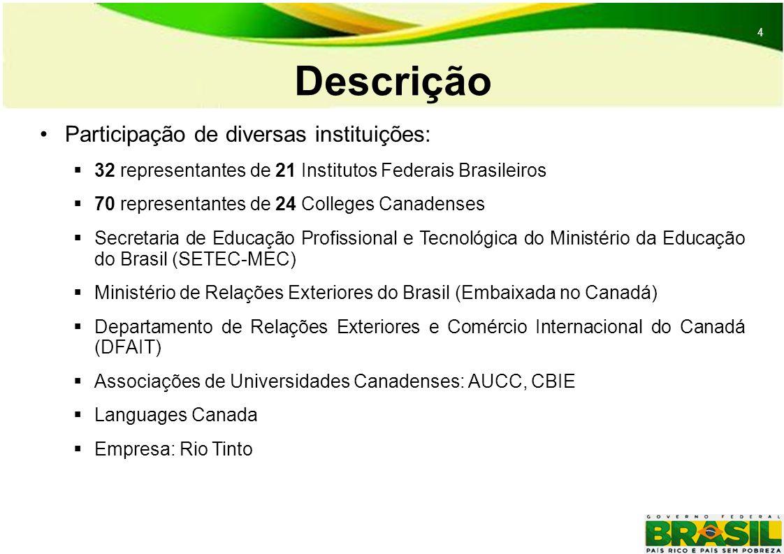 4 4 Descrição Participação de diversas instituições: 32 representantes de 21 Institutos Federais Brasileiros 70 representantes de 24 Colleges Canadenses Secretaria de Educação Profissional e Tecnológica do Ministério da Educação do Brasil (SETEC-MEC) Ministério de Relações Exteriores do Brasil (Embaixada no Canadá) Departamento de Relações Exteriores e Comércio Internacional do Canadá (DFAIT) Associações de Universidades Canadenses: AUCC, CBIE Languages Canada Empresa: Rio Tinto