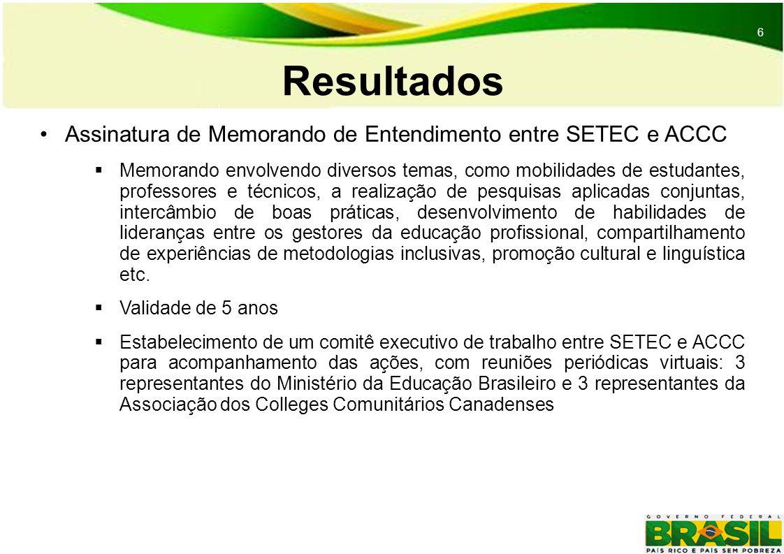 6 6 Resultados Assinatura de Memorando de Entendimento entre SETEC e ACCC Memorando envolvendo diversos temas, como mobilidades de estudantes, professores e técnicos, a realização de pesquisas aplicadas conjuntas, intercâmbio de boas práticas, desenvolvimento de habilidades de lideranças entre os gestores da educação profissional, compartilhamento de experiências de metodologias inclusivas, promoção cultural e linguística etc.