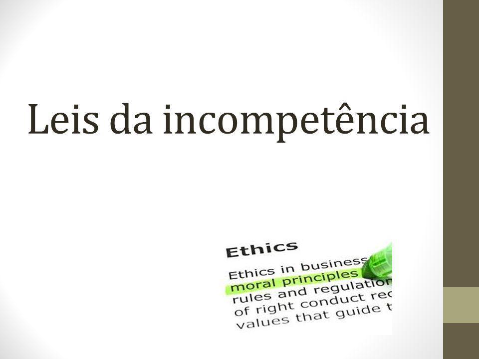 10 – Lei das dificuldades desonestas Cria dificuldades para vender facilidades Principio universalizado pelos corruptos.