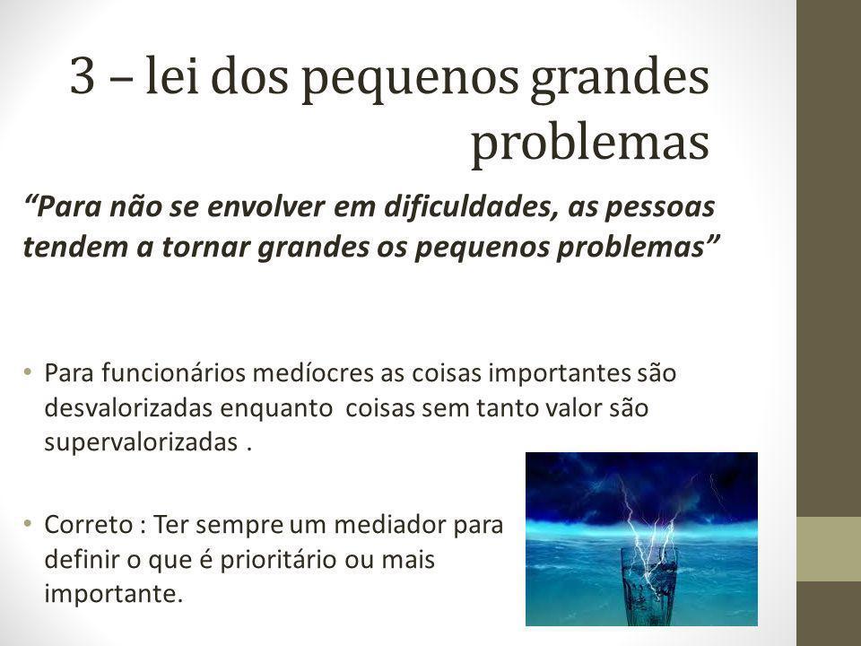 3 – lei dos pequenos grandes problemas Para não se envolver em dificuldades, as pessoas tendem a tornar grandes os pequenos problemas Para funcionário
