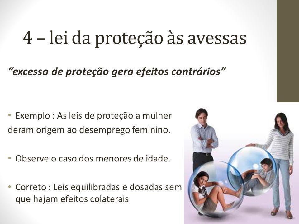 4 – lei da proteção às avessas excesso de proteção gera efeitos contrários Exemplo : As leis de proteção a mulher deram origem ao desemprego feminino.