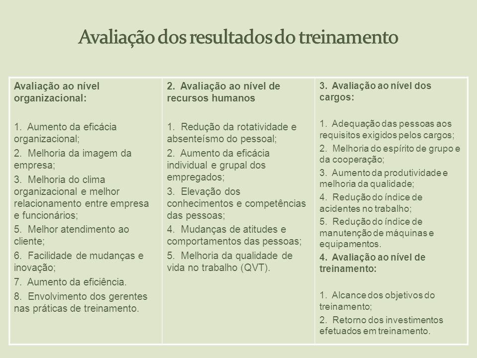 Avaliação ao nível organizacional: 1. Aumento da eficácia organizacional; 2. Melhoria da imagem da empresa; 3. Melhoria do clima organizacional e melh