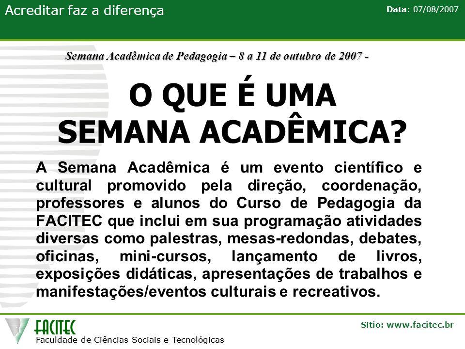 Faculdade de Ciências Sociais e Tecnológicas Sítio: www.facitec.br Acreditar faz a diferença Faculdade de Ciências Sociais e Tecnológicas Data: 07/08/2007 POR QUE PARTICIPAR.