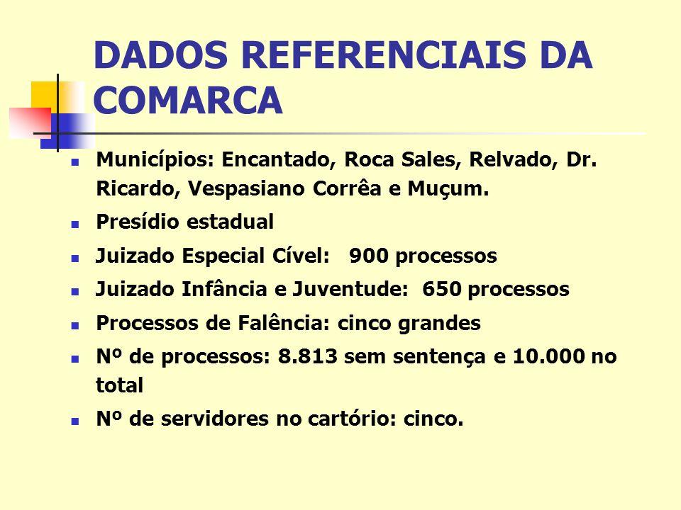 DADOS REFERENCIAIS DA COMARCA Municípios: Encantado, Roca Sales, Relvado, Dr.
