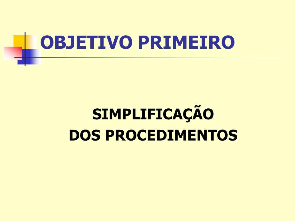 OBJETIVO PRIMEIRO SIMPLIFICAÇÃO DOS PROCEDIMENTOS