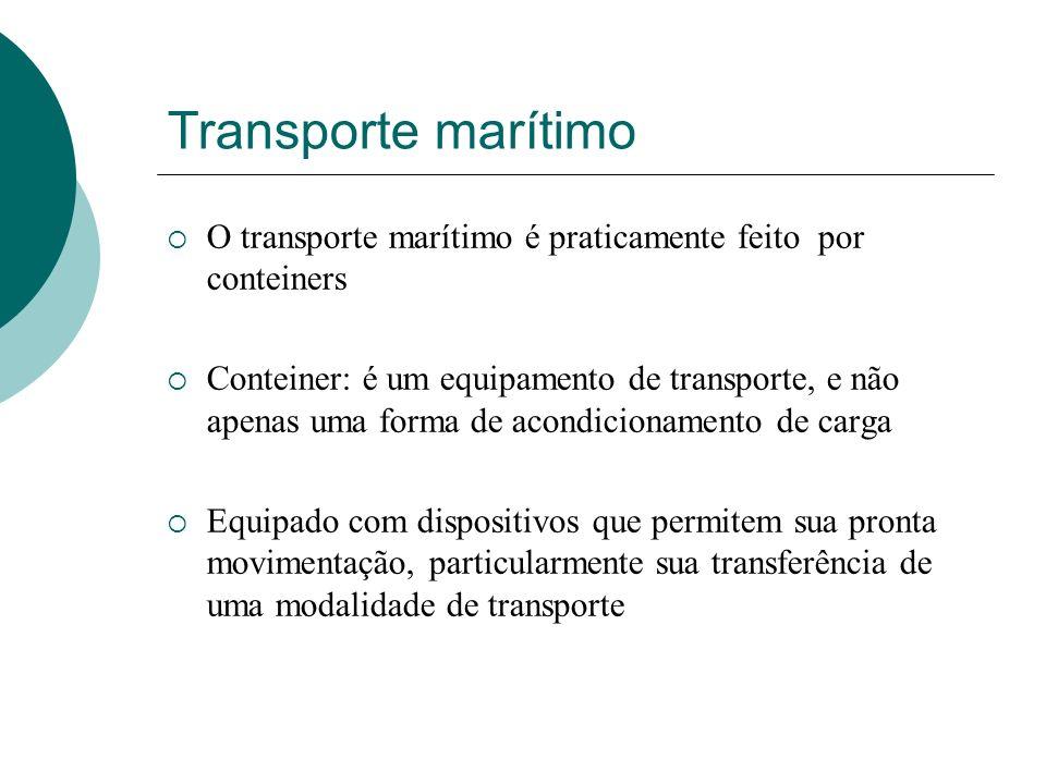 Transporte marítimo O transporte marítimo é praticamente feito por conteiners Conteiner: é um equipamento de transporte, e não apenas uma forma de aco