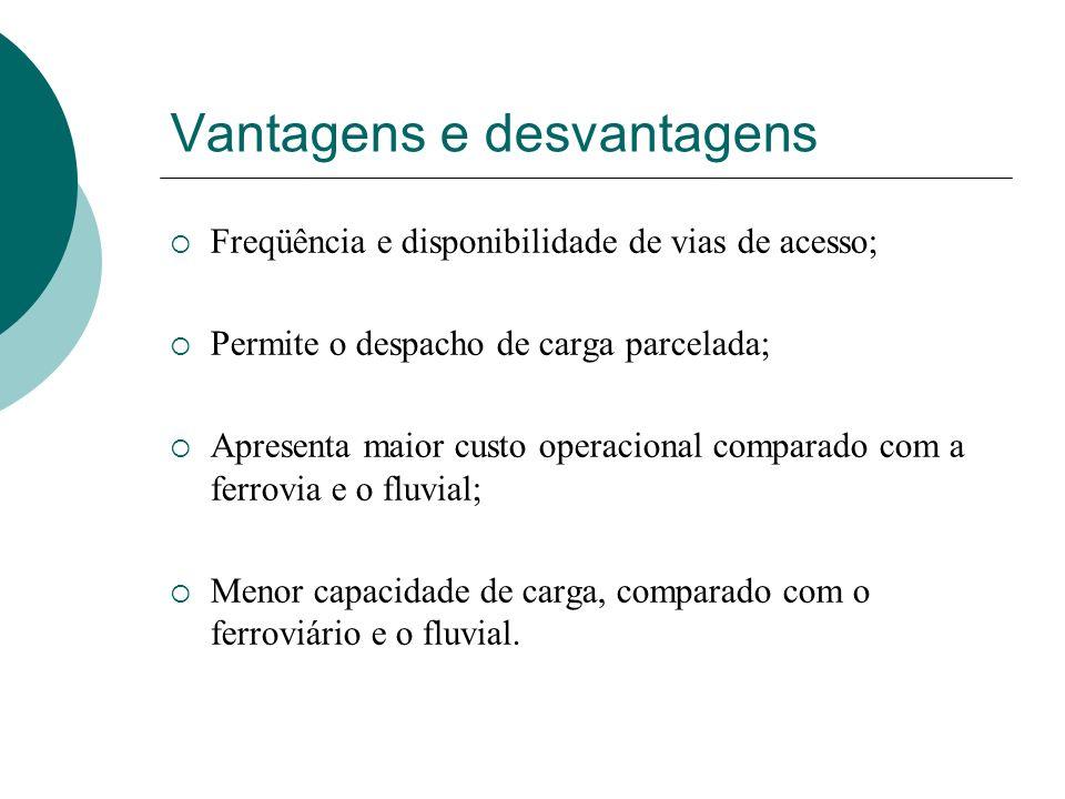 Vantagens e desvantagens Freqüência e disponibilidade de vias de acesso; Permite o despacho de carga parcelada; Apresenta maior custo operacional comp