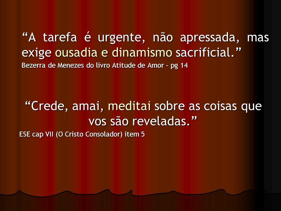 A tarefa é urgente, não apressada, mas exige ousadia e dinamismo sacrificial. Bezerra de Menezes do livro Atitude de Amor – pg 14 Crede, amai, meditai